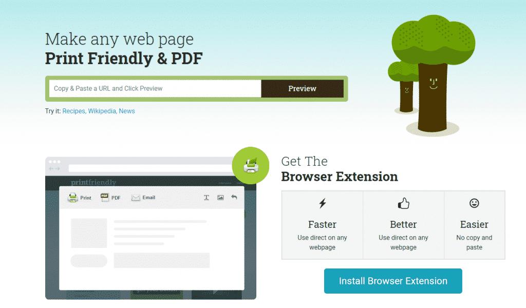 Web page to pdf